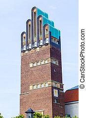 Vintage looking Hochzeitsturm tower at Kuenstler Kolonie...