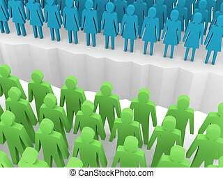 Men and women split on sides, separation crack. Concept 3D...