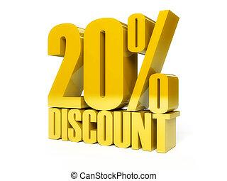 20 percent discount. Golden shiny text.