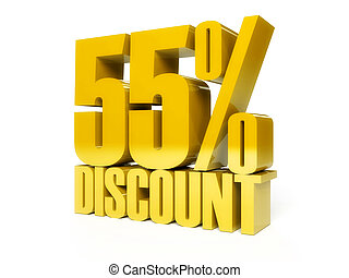 55 percent discount. Golden shiny text.