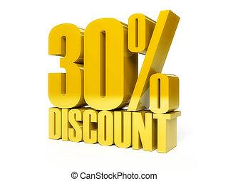 30 percent discount. Golden shiny text.