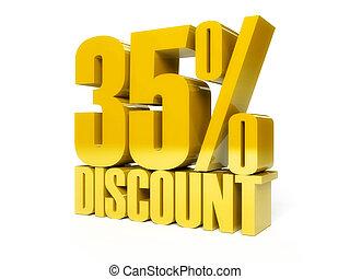 35 percent discount. Golden shiny text.