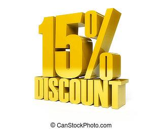 15 percent discount. Golden shiny text.