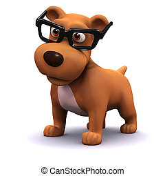 3d Student dog - 3d render of a dog wearing spectacles