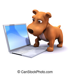 3d Computer dog - 3d render of a dog playing with a laptop