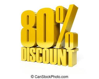 80 percent discount. Golden shiny text.