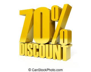 70 percent discount. Golden shiny text.