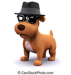 3d Cool dog in shades - 3d render of a dog in a trilby hat...