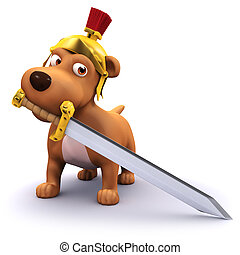 3d Roman dog - 3d render of a dog dressed as a Roman...