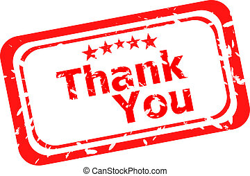 Stylized red stamp showing the term thank you. All on white...
