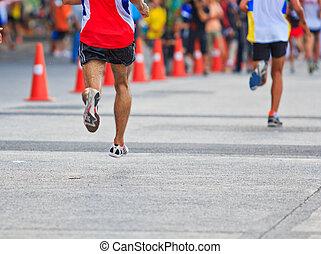 Runner running and marathon