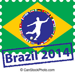 Postage stamps with flags of the participating countries in Brazil