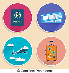 Vacation Travel Voyage Icons Set - Vacation travel voyage...