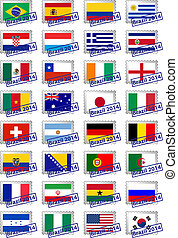 Certified postage stamps with flags of the participating countries in Brazil 2014