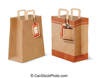 Shopping paper bags and sale labels template - Paper...