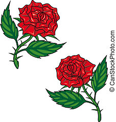 Two red cartoon roses