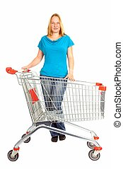 Shopping - young woman with empty shopping cart