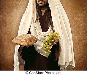 Jesus gives bread and grapes on beige background