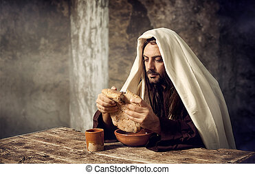 Jesus breaks the bread - The Last Supper, Jesus breaks the...