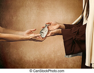 Jesus gives the fish to a beggar on beige background