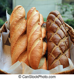 french baguette on buffet line - delicious french baguette...