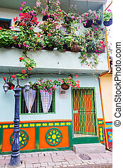 Colorful House and Flowers - Colorful house with flowers in...
