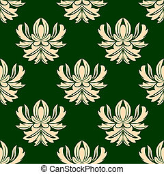 Green and beige seamless arabesque pattern with large floral...