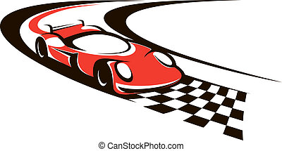 Speeding racing car crossing the finish line as it roars...