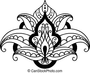 Persian floral design element - Bold black and white persian...
