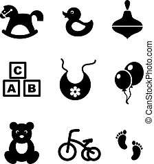 Set of baby icons - Set of nine different black and white...