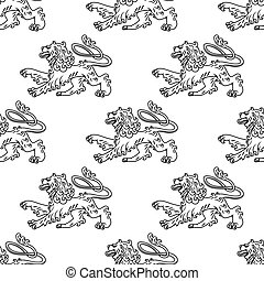 Seamless pattern of a vintage heraldic lion