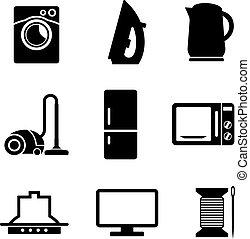 Set of home appliances icons - Set of black and white...