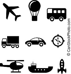 Transport icons set - Set of nine silhouette transport icons...