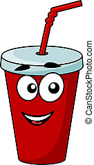 Cartoon takeaway soda drink in a covered cup with a straw...