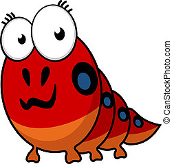 Cartoon caterpillar with big eyes and colorful spots along...