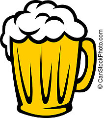 Tankard full of golden frothy beer with a good head of...