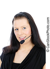 Callcenter - blach haired Woman with headset