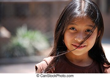 Beautiful Hispanic Girl - Beautiful Hispanic girl looks into...