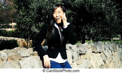 Screaming for happiness - Beautiful asian woman screaming...