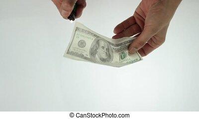 dollar burn - burning  100 dollars note