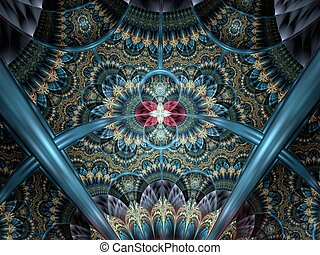 Dark colorful and blue fractal flower pattern