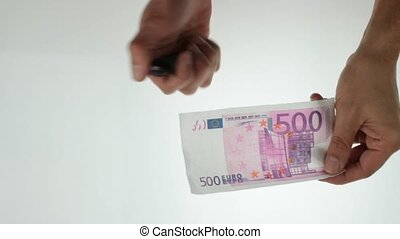 currency concept - burning 500 euro note