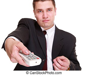 man with remote control changing channel - Zapping concept -...