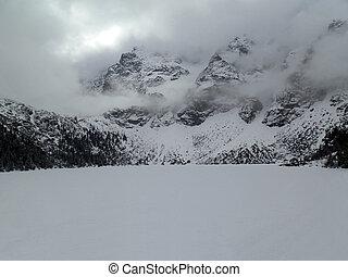 frozen lake morskie oko - frozen lake in morskie oko, poland