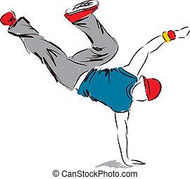 hip-hop dancer2dancing illustration - hip-hop dancer dancing...