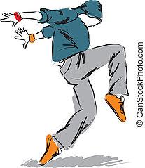 hip-hop dancer3dancing illustration - hip-hop dancer dancing...