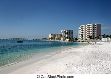 Condos Along The Beach - Highrise condos line the beach in...