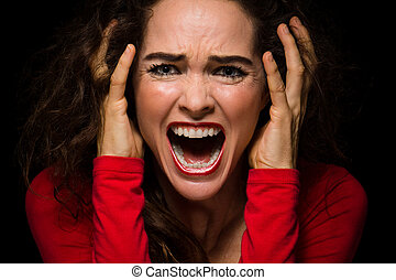 zangado, desesperado, mulher, gritando