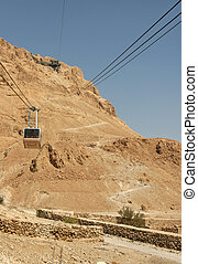 Cable Car to Masada, Israel - Tourist take the cable car up...