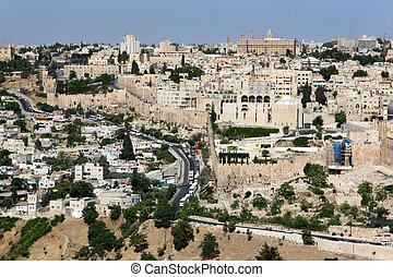 City of Jerusalem, Israel shown from the Mount of Olives